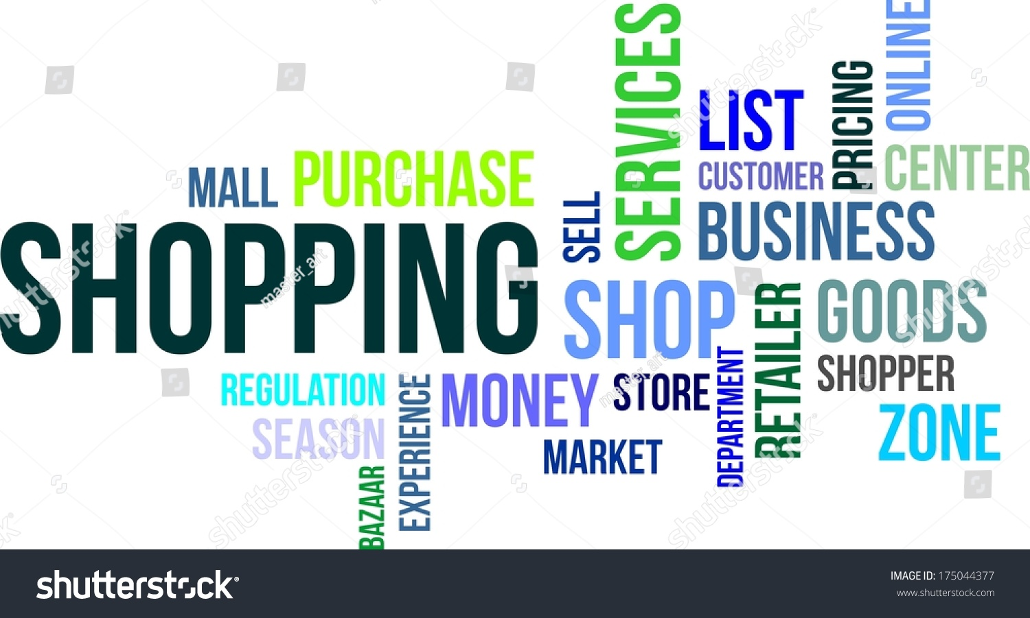Word Cloud Shopping Related Items Stock Vector 175044377 ...