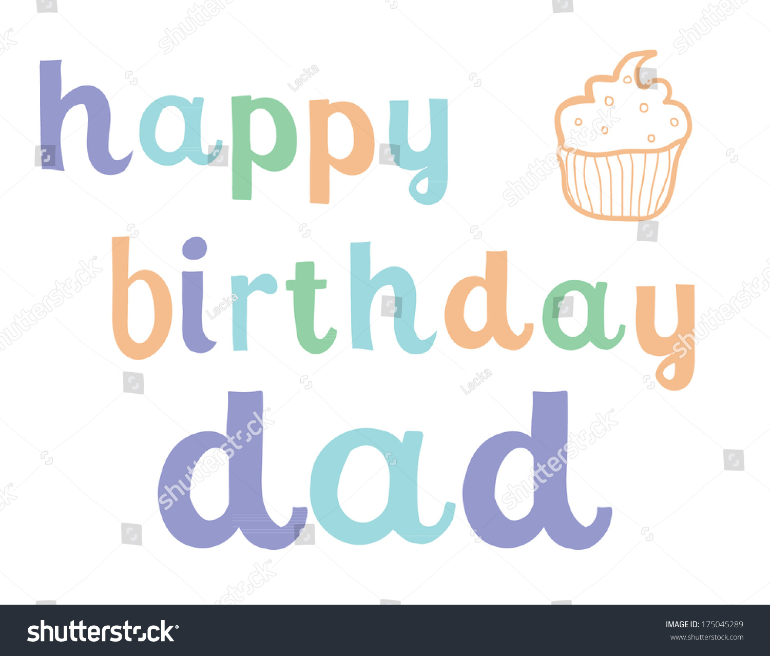 Happy Birthday Dad Card Father Stock Vector 175045289