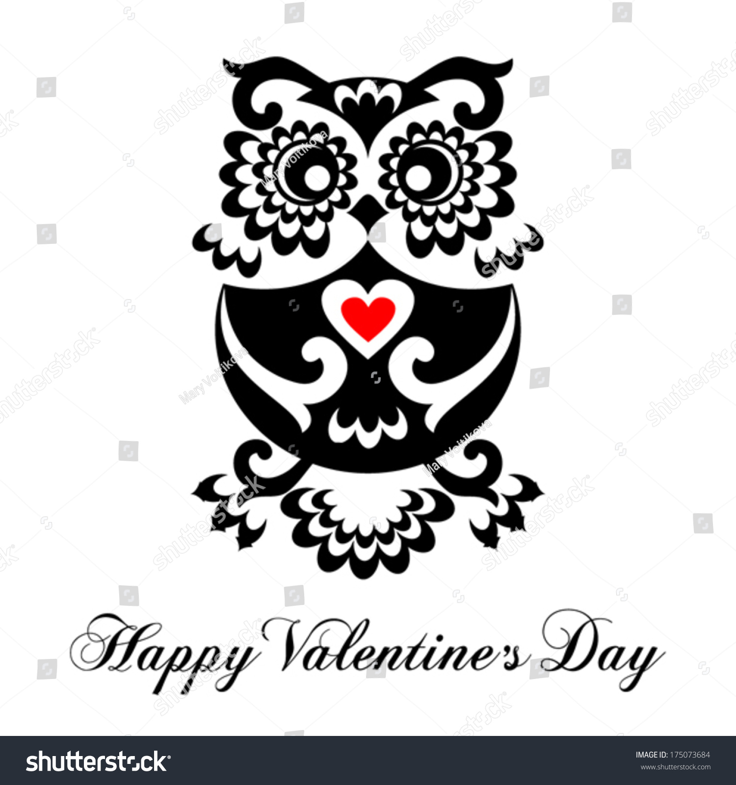 Valentines Day Greeting Card Funny Owl Stock Vector Royalty Free