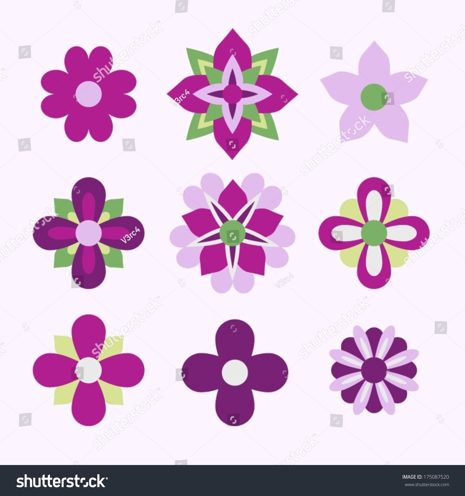 Pink flower icon set stock vector 175087520 shutterstock pink flower icon set mightylinksfo Choice Image