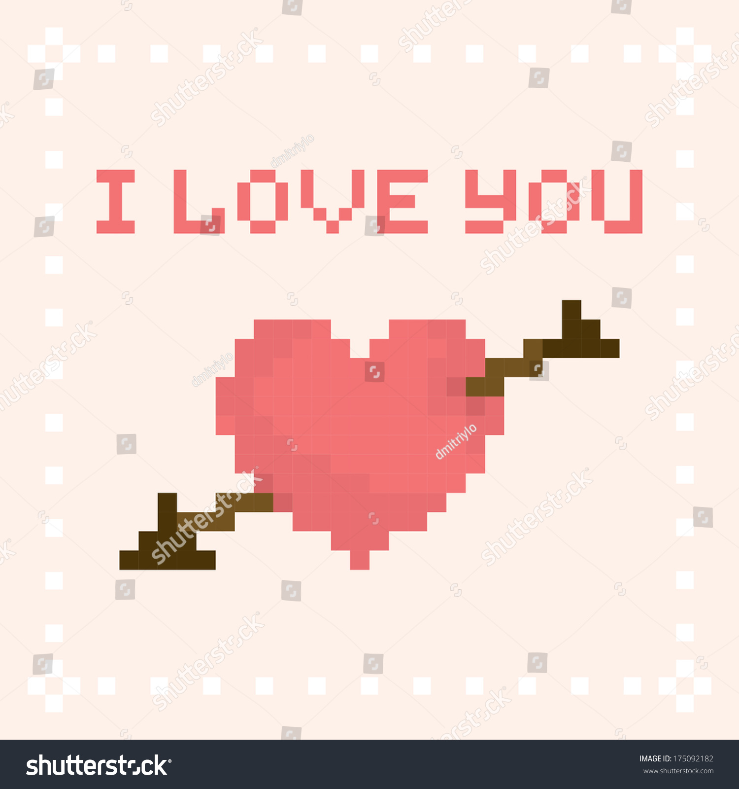 pixel art i love you valentines stock vector 175092182 shutterstock. Black Bedroom Furniture Sets. Home Design Ideas