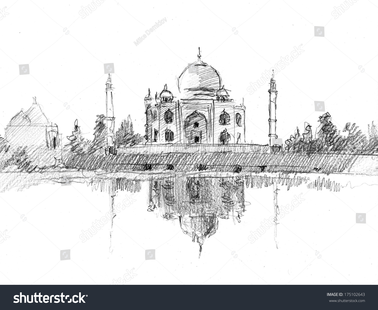 Pencil sketch of taj mahal drawn in pencil artistic style