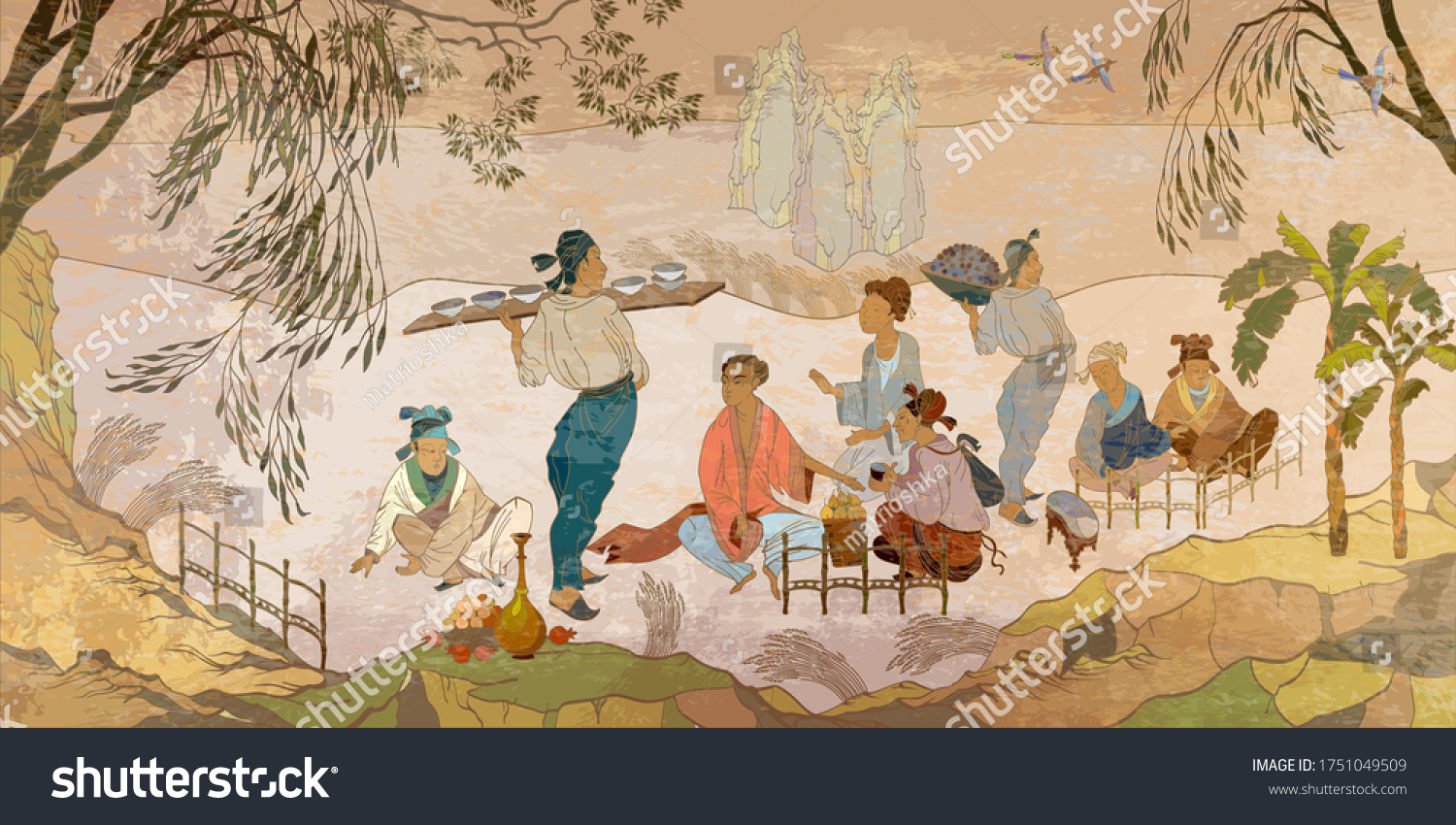 Ancient China. Oriental people. Tea ceremony. Traditional Chinese paintings. Tradition and culture of Asia. Classic wall drawing. Murals and watercolor asian style. Hand-drawn vector illustration