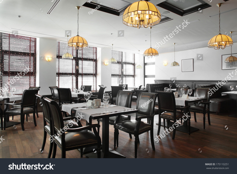 Modern european restaurant nice bright interior stock