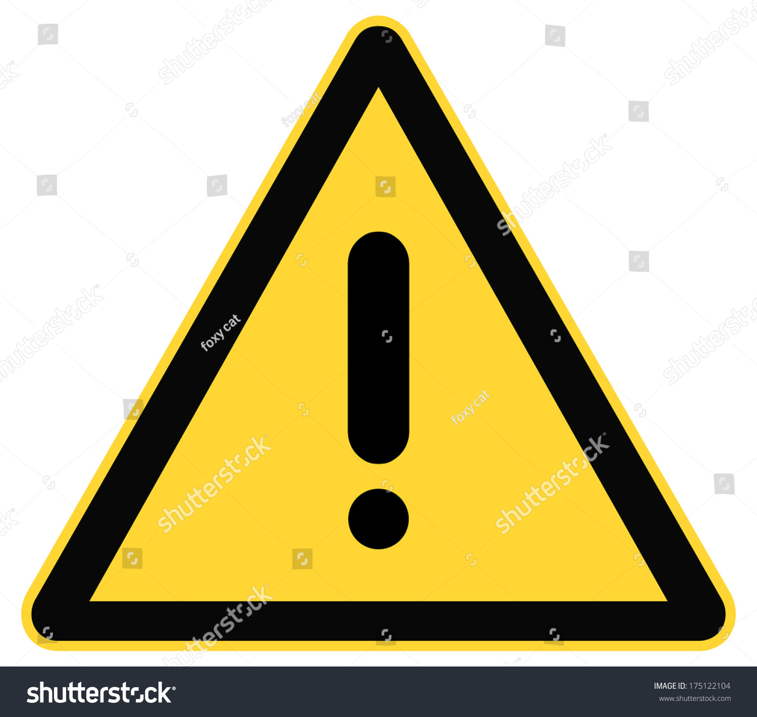 Rounded Triangle Shape Hazard Warning Sign Stock Vector Royalty