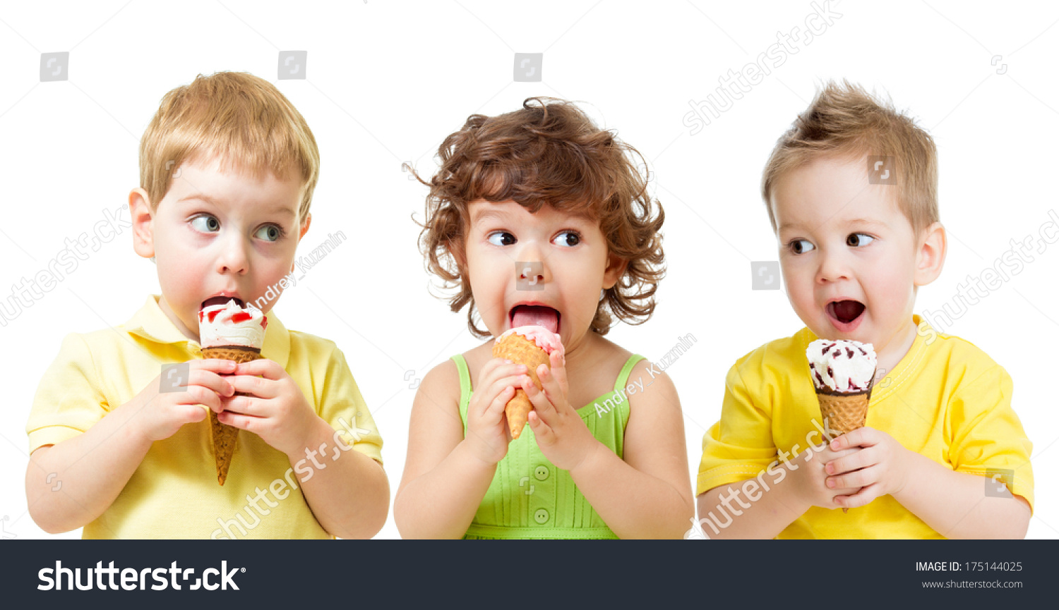 funny kids boys girl eating ice stock photo (download now) 175144025