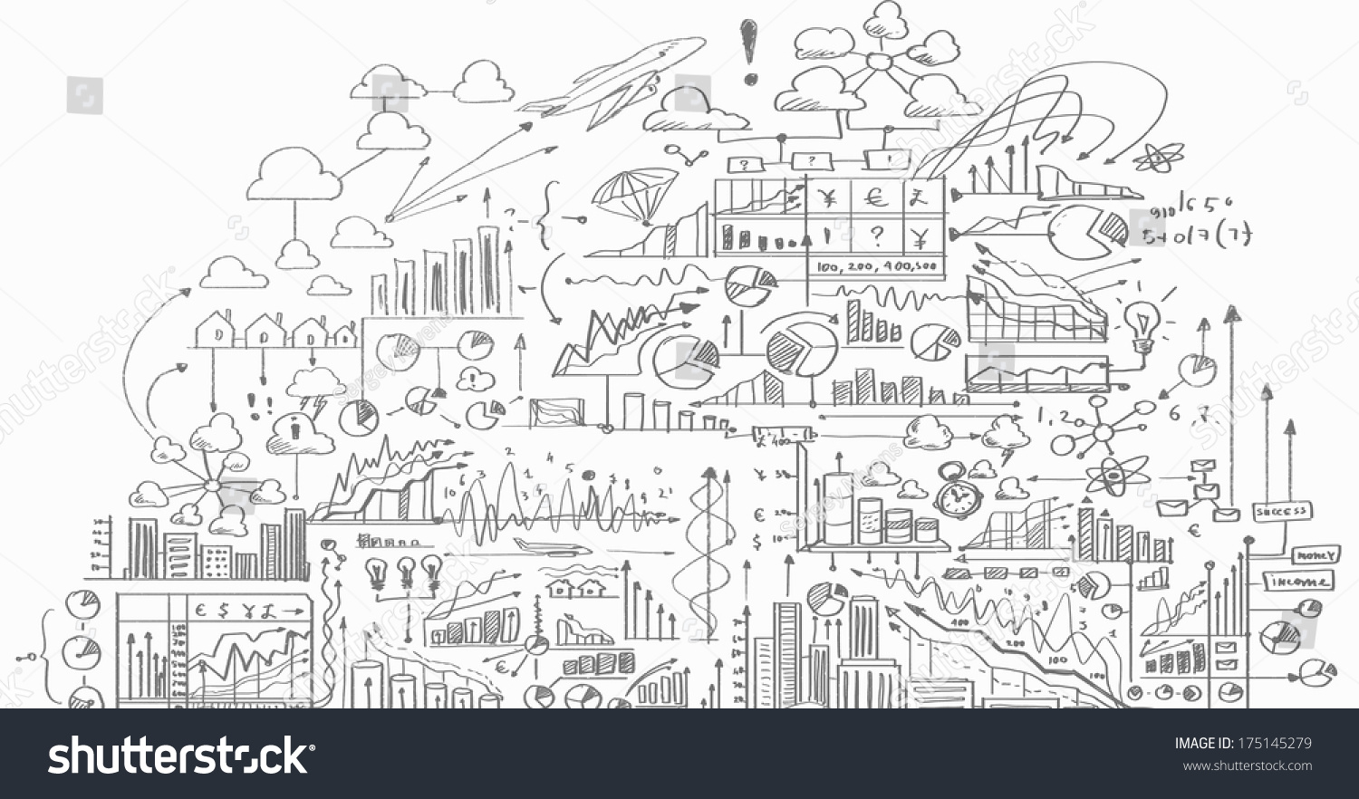 Background image with business sketch and strategy drawings
