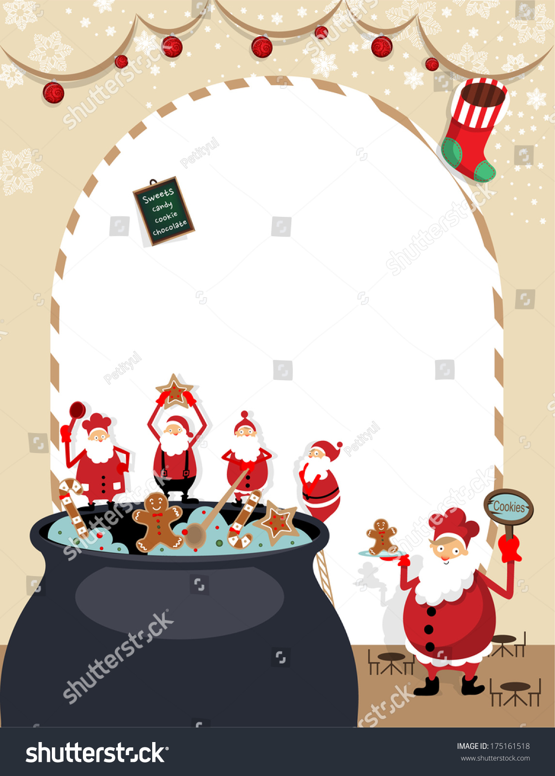 Christmas Cookie Funny Santa Cooking Together Stock Vector (Royalty ...