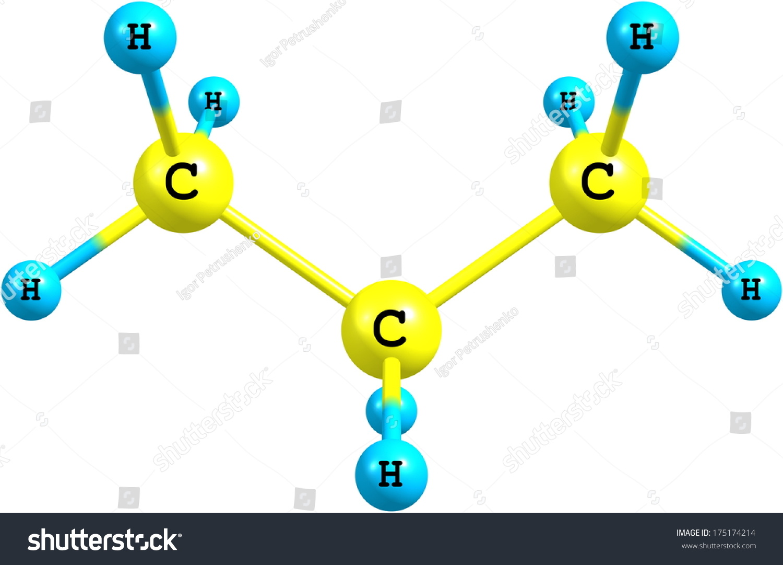 Propane Threecarbon Alkane Molecular Formula C 3 H 8 Stock