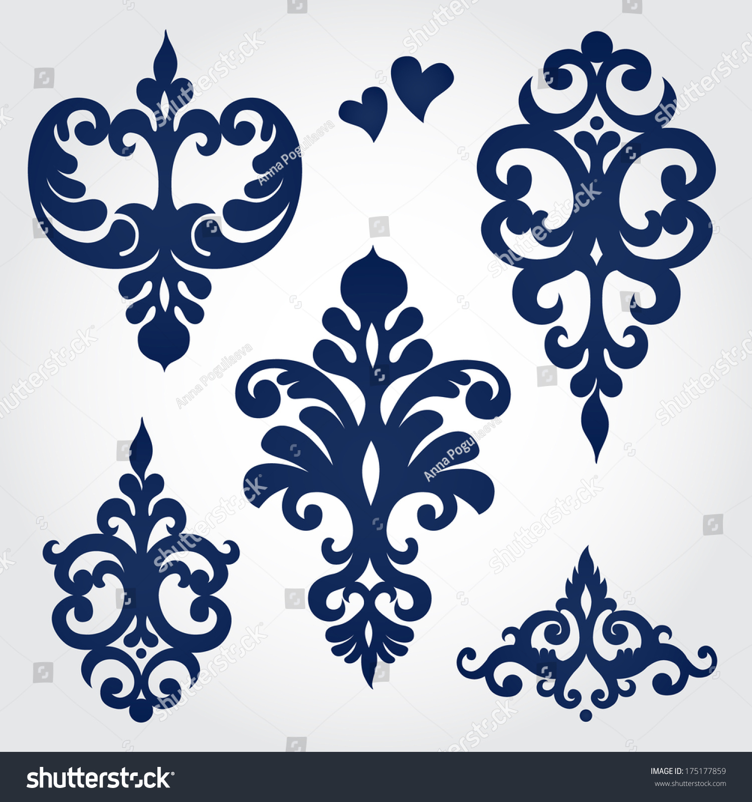 Vector set with baroque ornaments in victorian style for Baroque design clothes