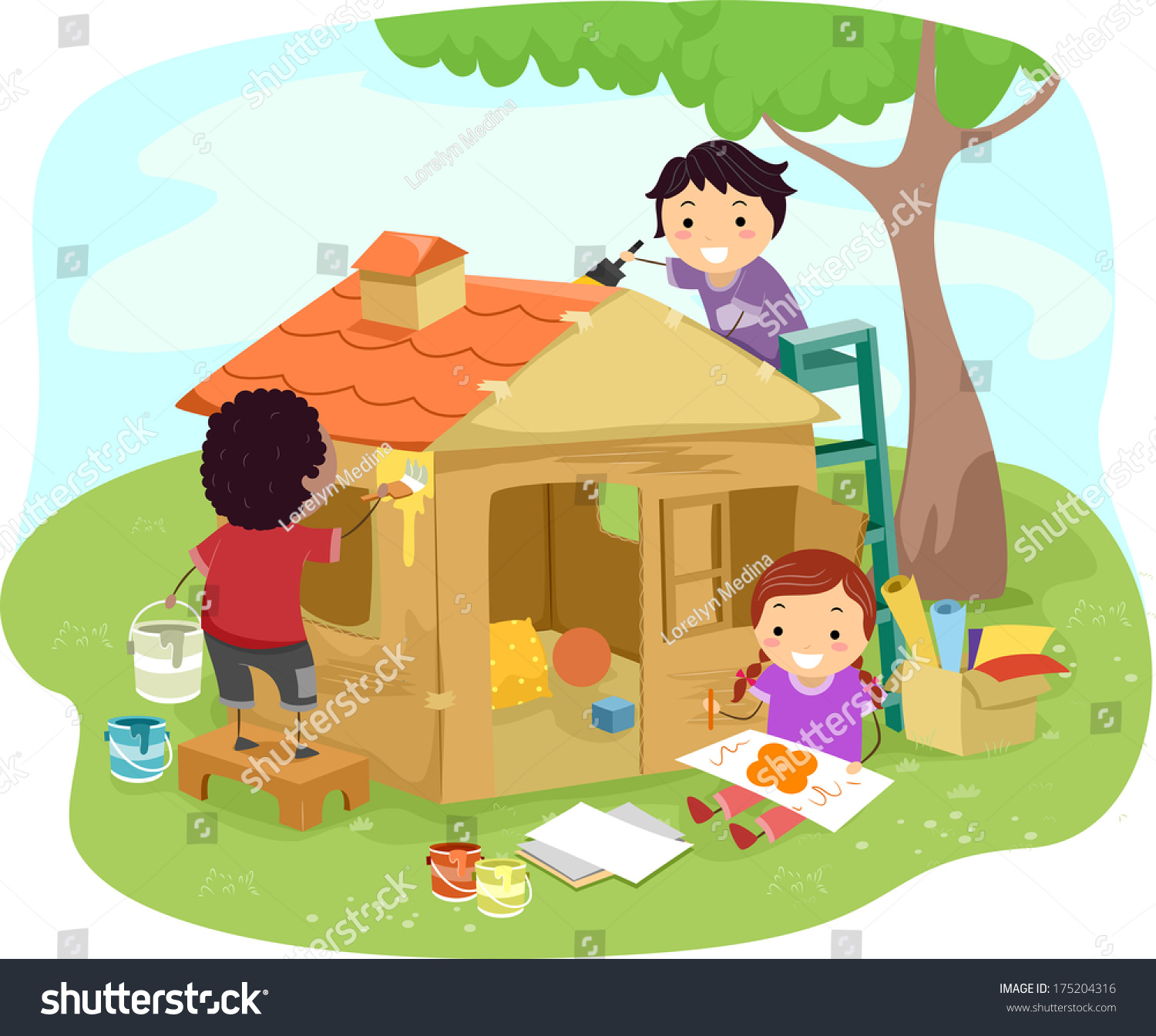 Illustration Kids Building Play House Together Stock