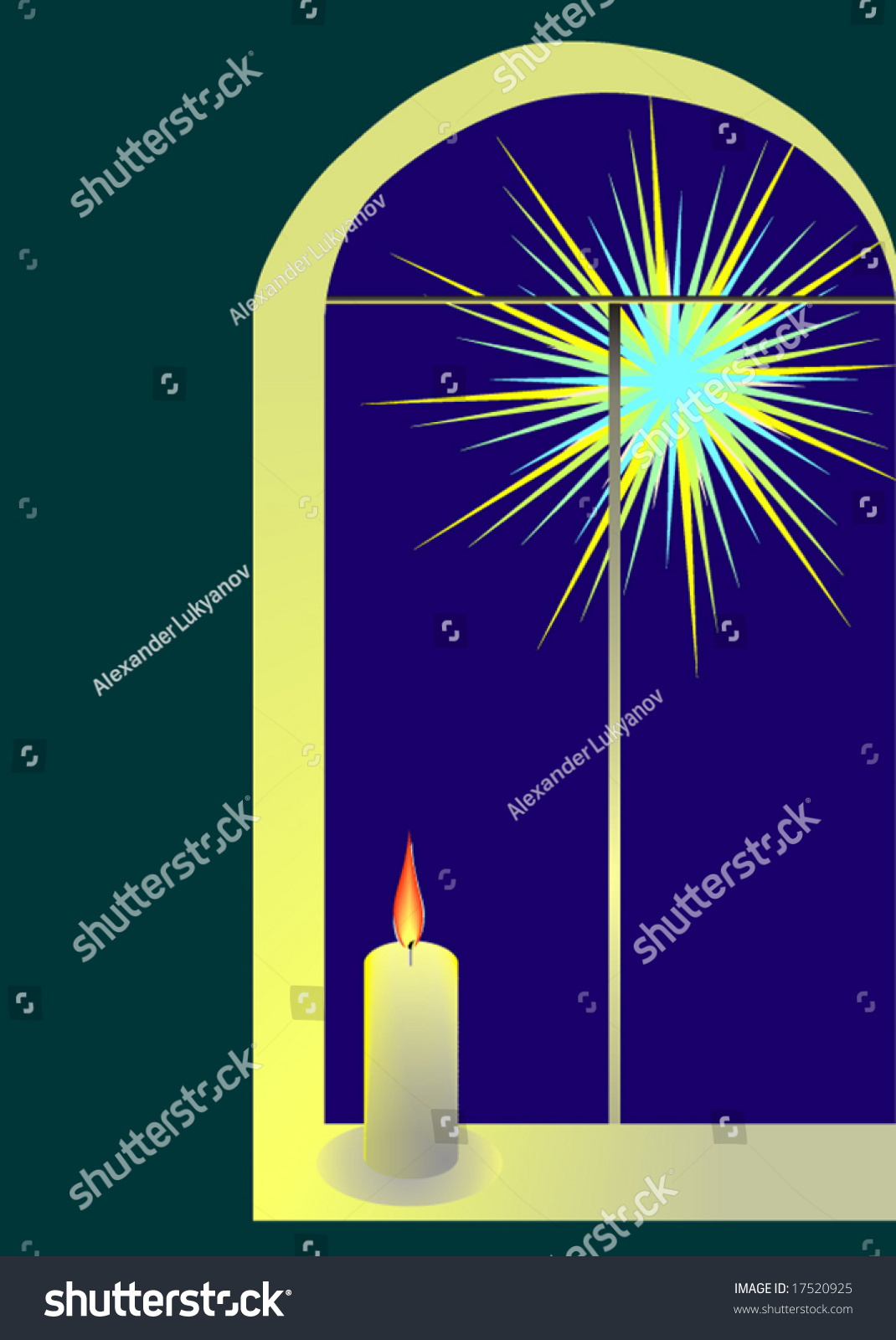 Illustration Candle On The Window With A Bright Evening