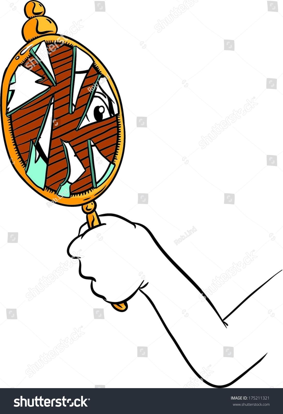 Cartoon Hand Holding Broken Mirror Shattered Stock Photo Photo Rh  Shutterstock Com Oval Mirror Clip Art Clip Art Car Mirror