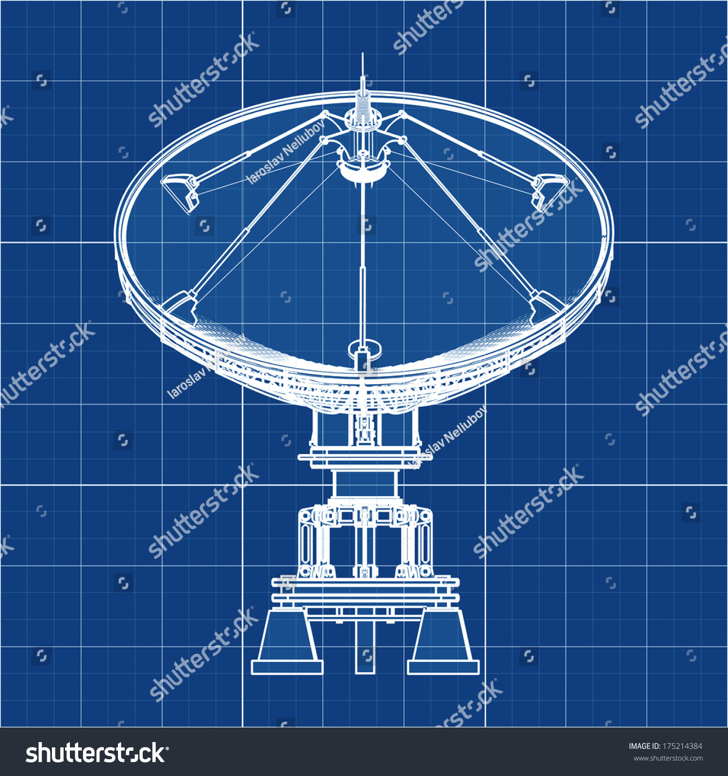 Satellite Dishes Antenna Doppler Radar Cad Stock Illustration ...