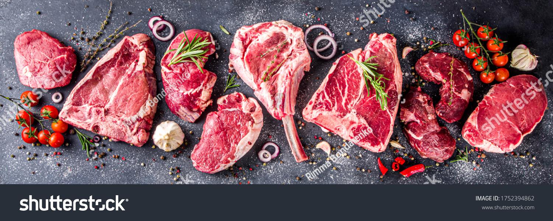 Set of various classic, alternative raw meat, veal beef steaks - chateau mignon, t-bonnet, tomahawk, striploin, tenderloin, tenderloin, new york steak. Flat lay top view on gray stone cutting table #1752394862