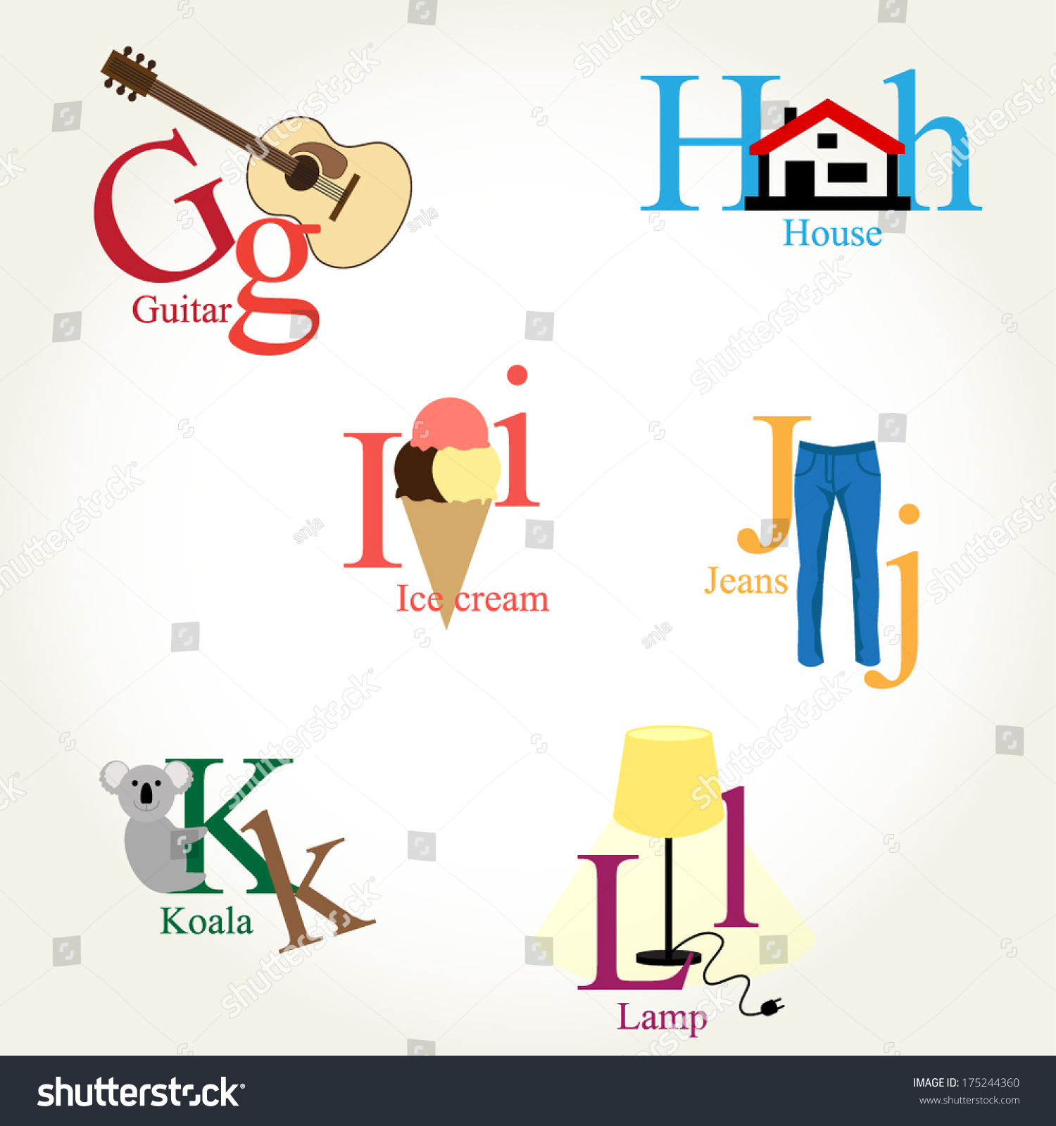 Illustrated alphabet letters objects animals food stock vector illustrated alphabet letters objects animals food instruments vector eps10 biocorpaavc Gallery