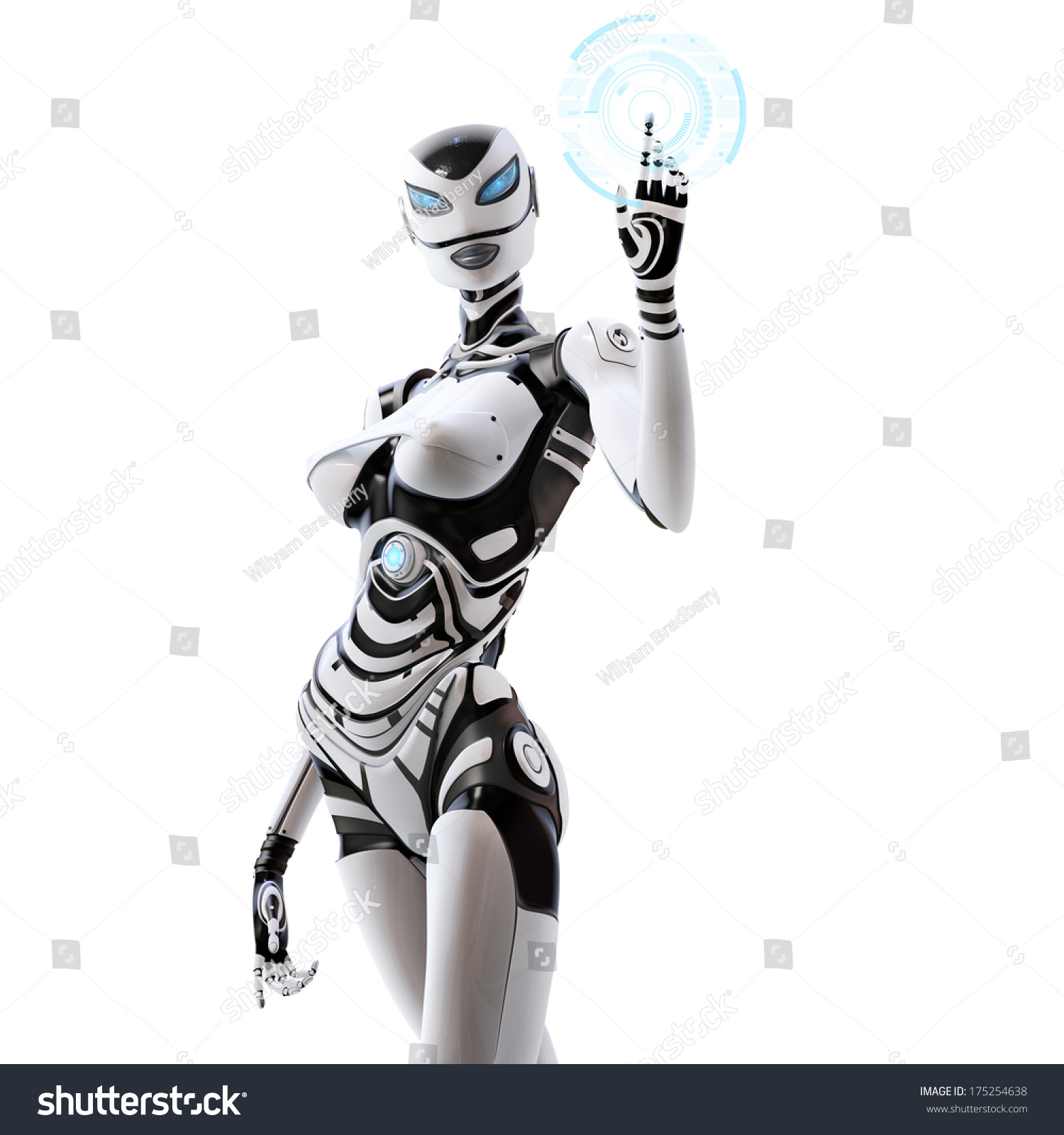 Sci Fi Android : Isolated on white background modern designed stock