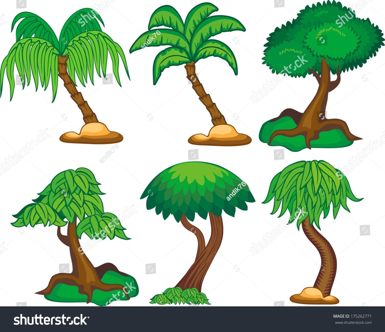 six kind cartoon trees stock vector 175262771 shutterstock