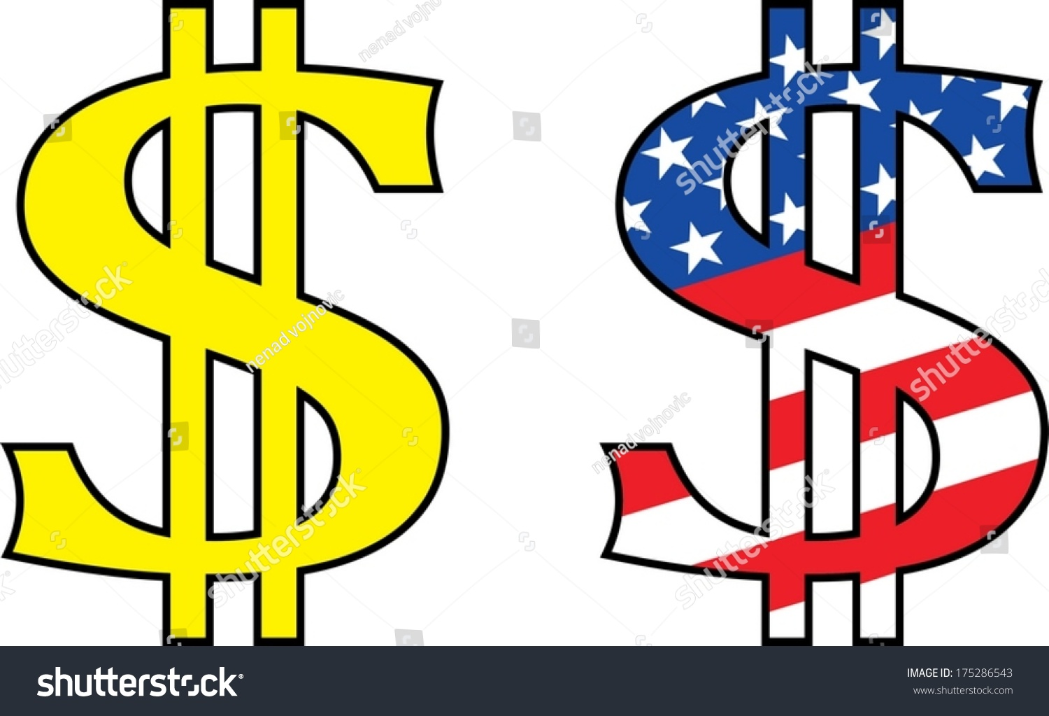 Dollar symbol painted colors united states stock vector 175286543 dollar symbol painted in the colors of united states of america biocorpaavc Gallery