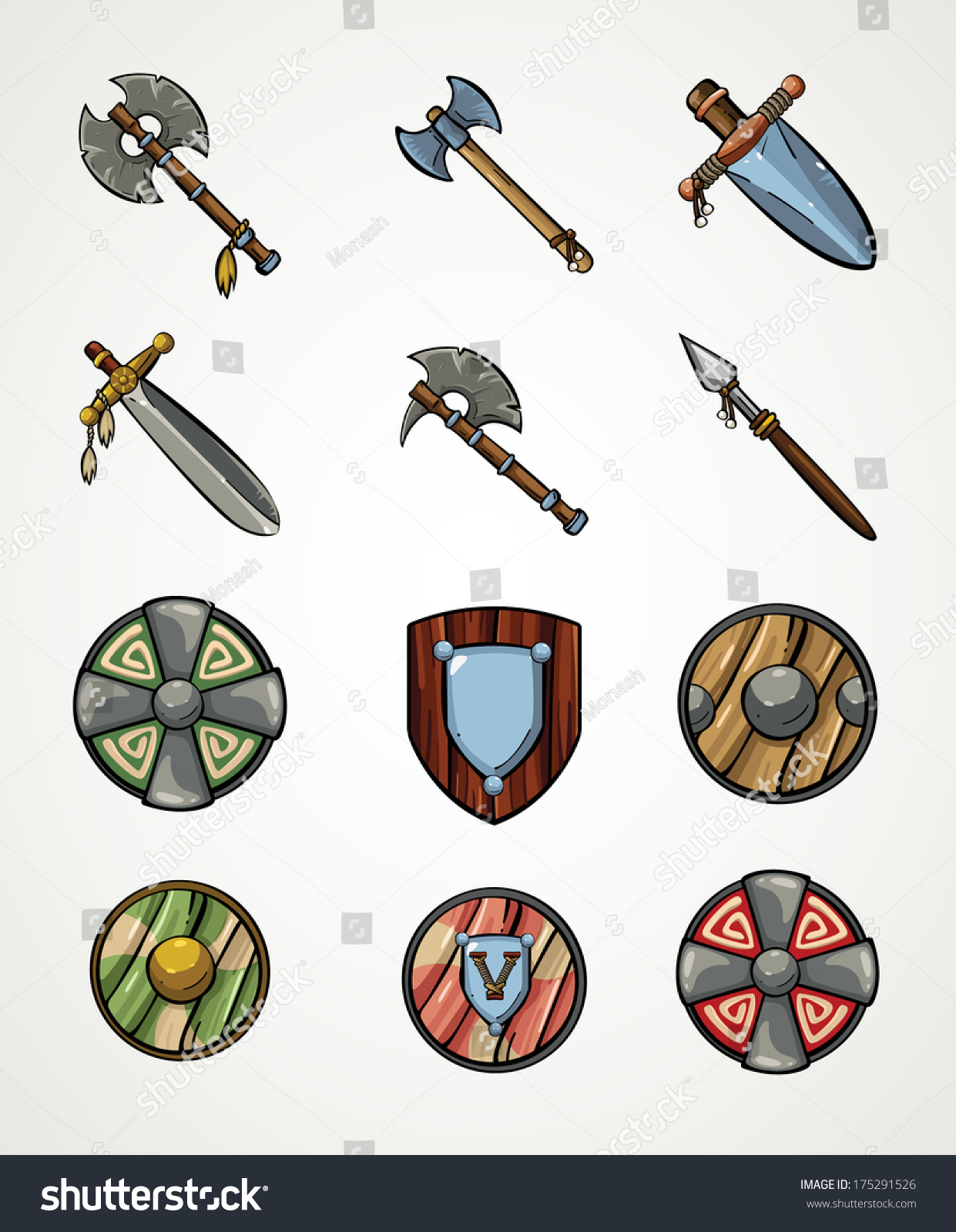 set cartoon viking weapons medieval weapons game stock vector 175291526 shutterstock. Black Bedroom Furniture Sets. Home Design Ideas