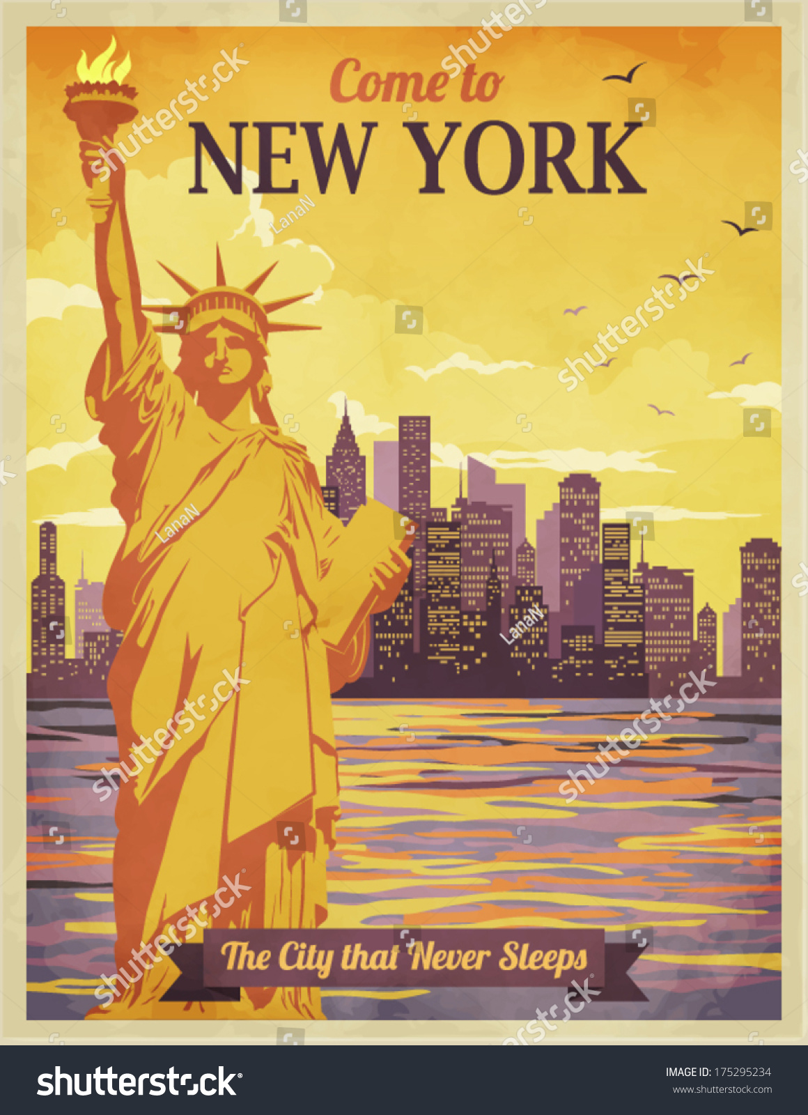 travel new york poster vintagestyle advertisement stock vector 175295234 shutterstock. Black Bedroom Furniture Sets. Home Design Ideas