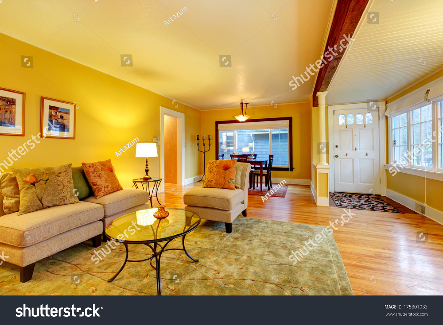 Furnished Living Room Entrance Hall Dining Stock Photo (Royalty Free ...