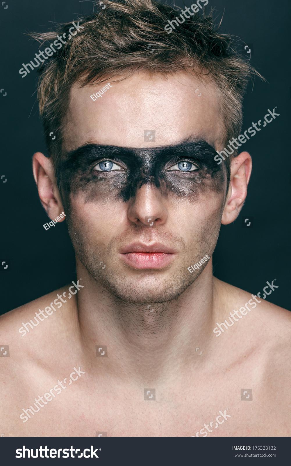 Young Man Black Makeup Around Eyes Stock Photo Edit Now 175328132