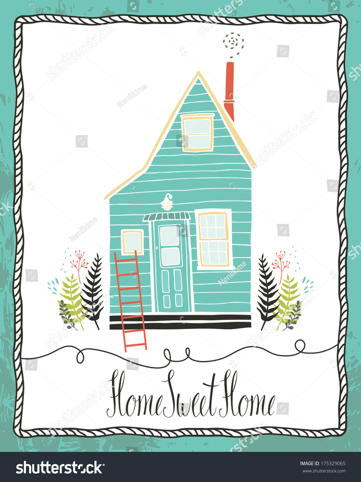Home Sweet Home Design Card Stock Vector 175329065 - Shutterstock