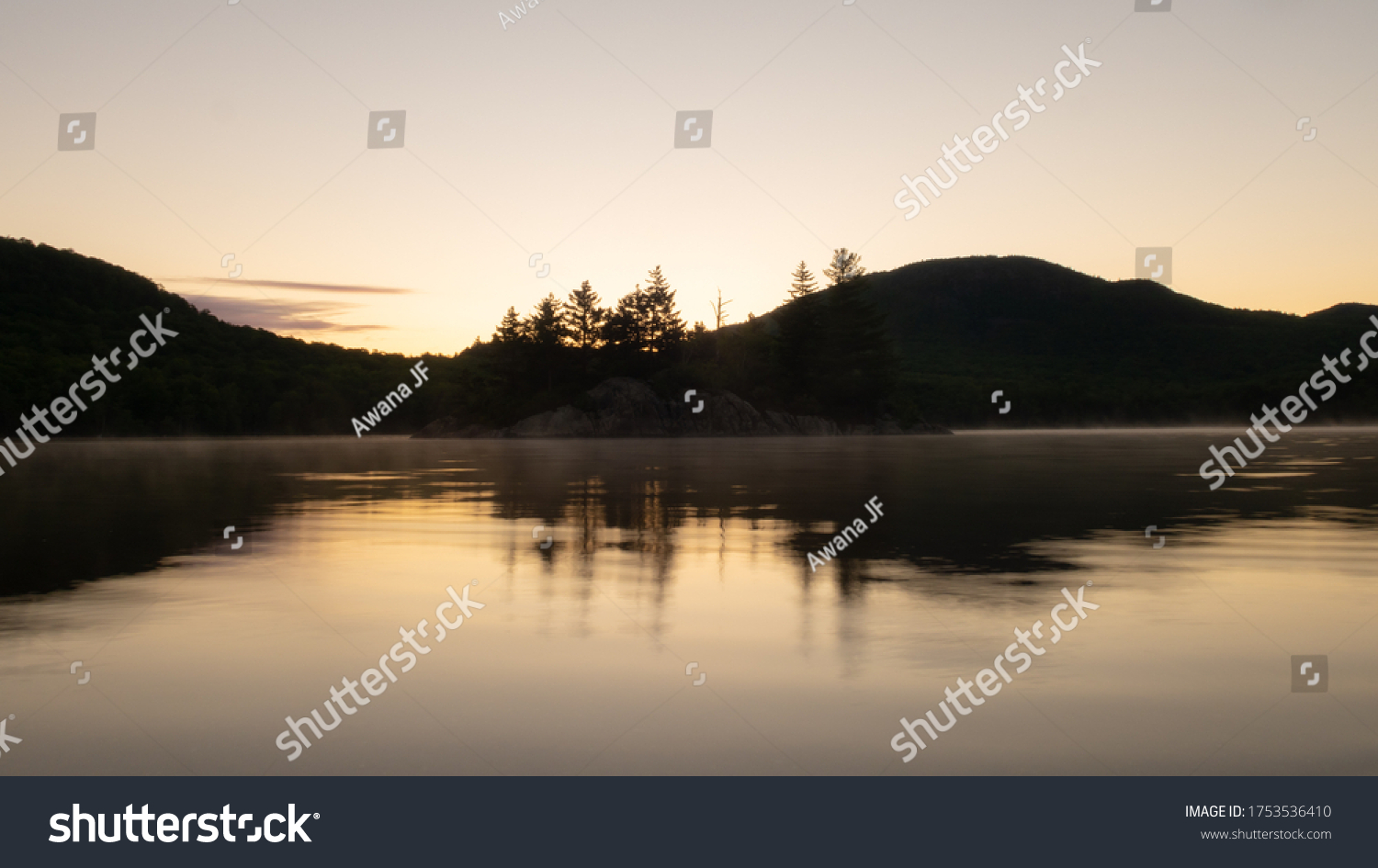 Beautiful sunrise over Stukely Lake in Mont Orford National Park