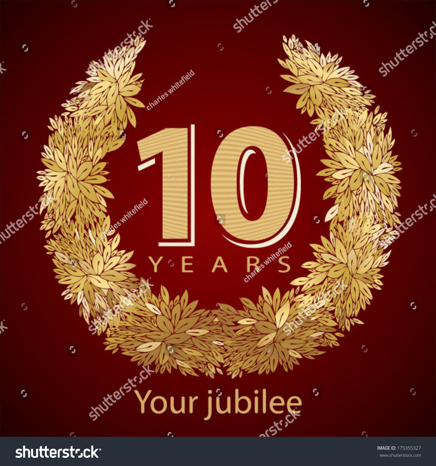 Jubilee golden laurel wreath 10 years stock vector 175355327 jubilee golden laurel wreath 10 years kristyandbryce Choice Image