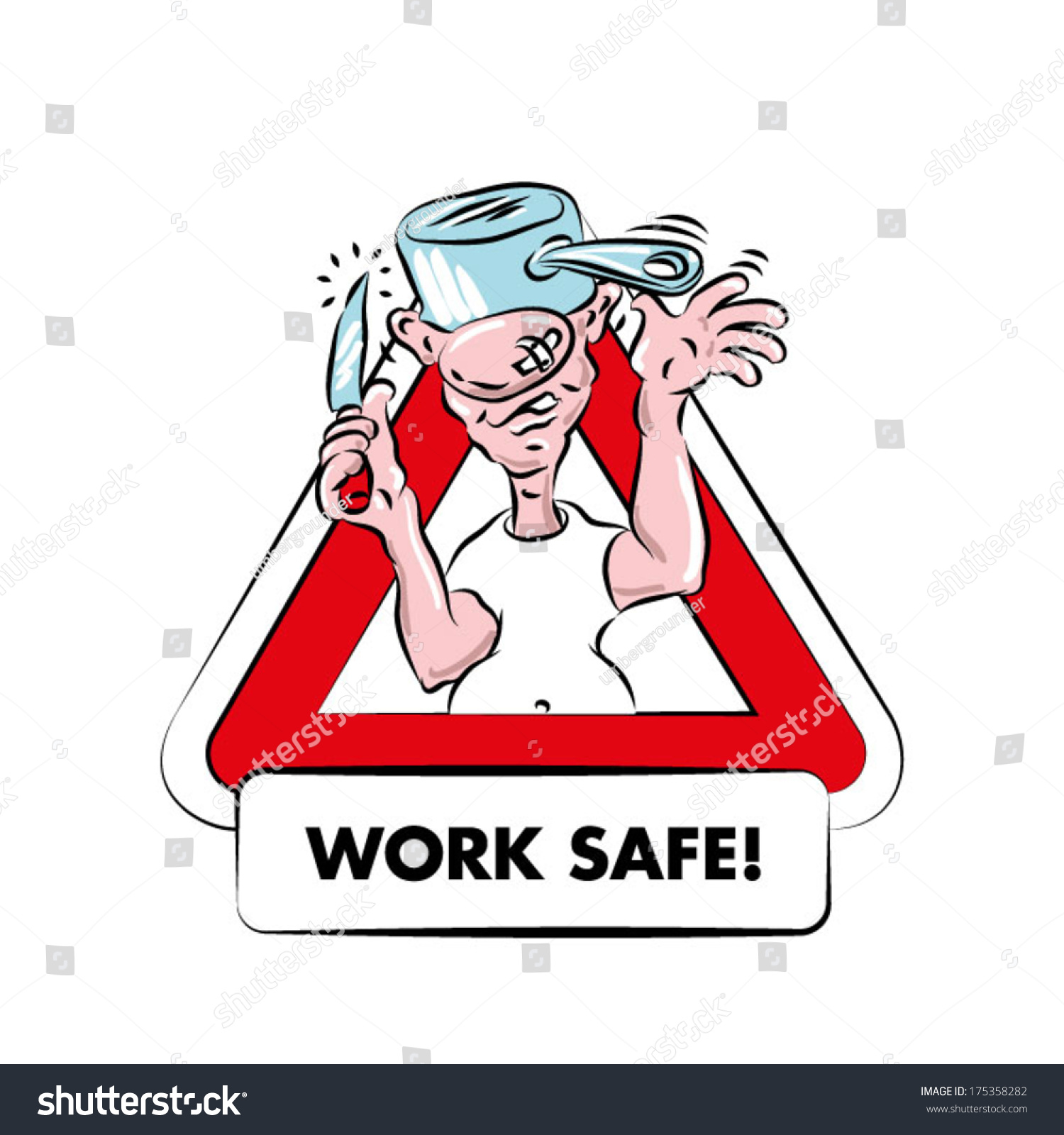 Cartoon Warning Sign Kitchen Safety Funny Stock Photo (Photo, Vector ...