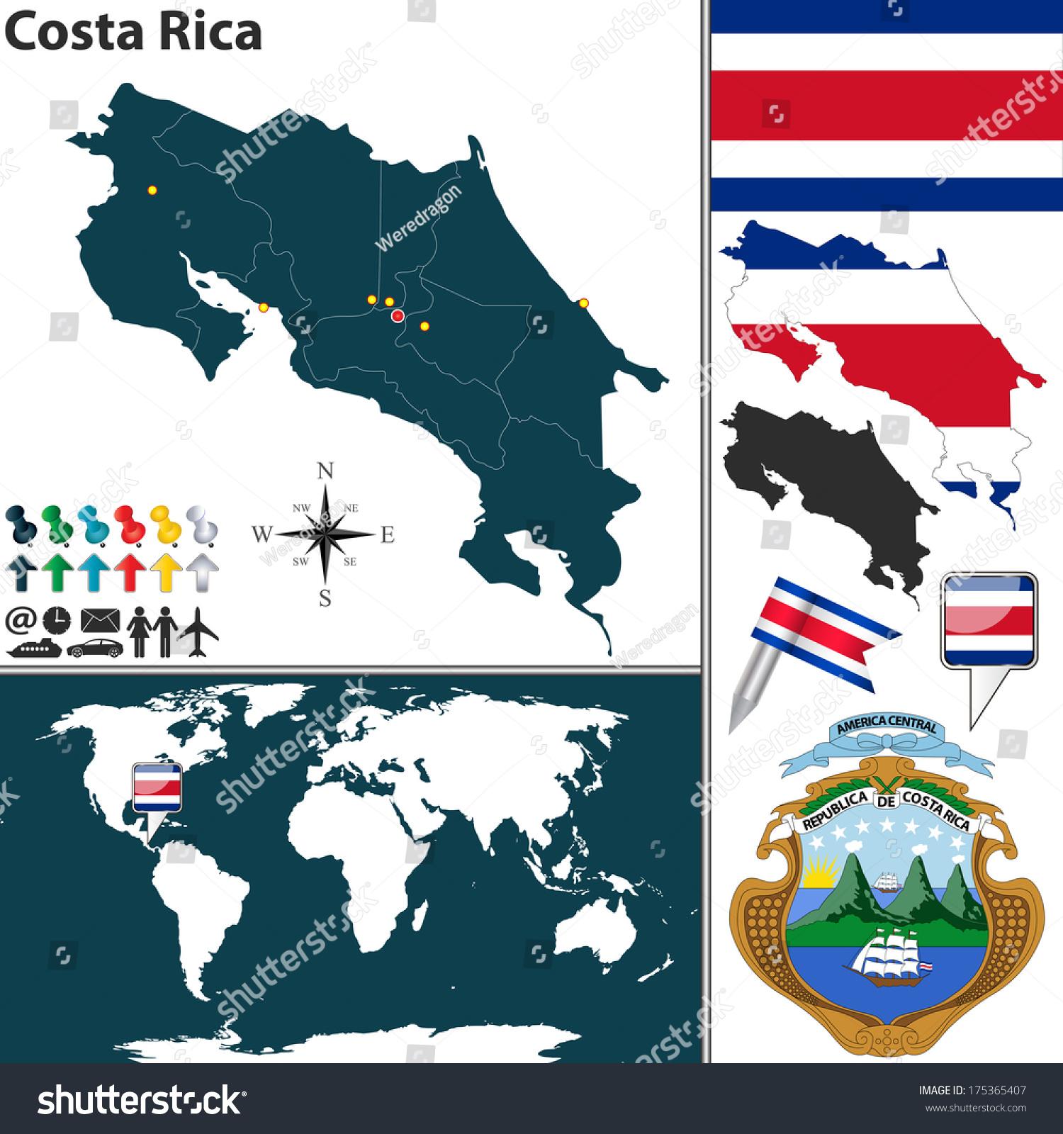 Image of: Vector De Stock Libre De Regalias Sobre Vector Map Costa Rica Regions Coat175365407