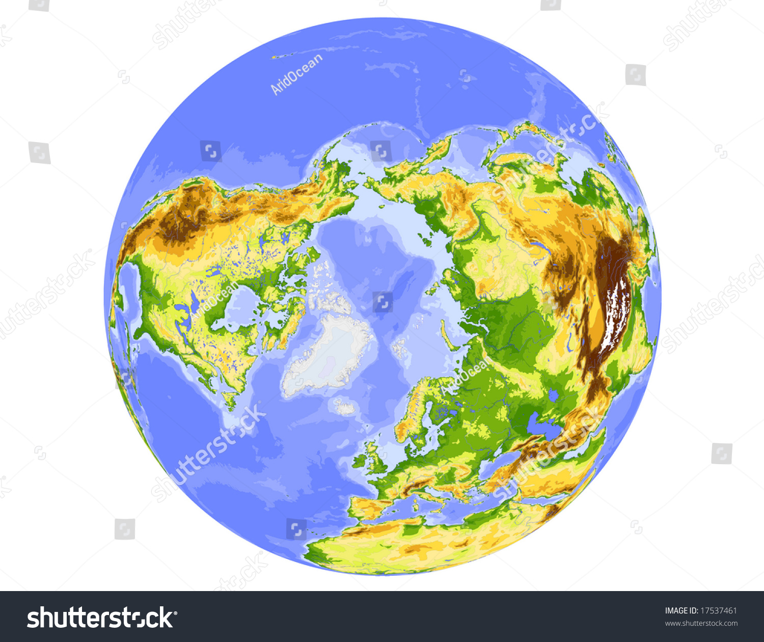 World physical vector map centered on stock photo photo vector world physical vector map centered on the north pole colored according to elevation gumiabroncs Choice Image