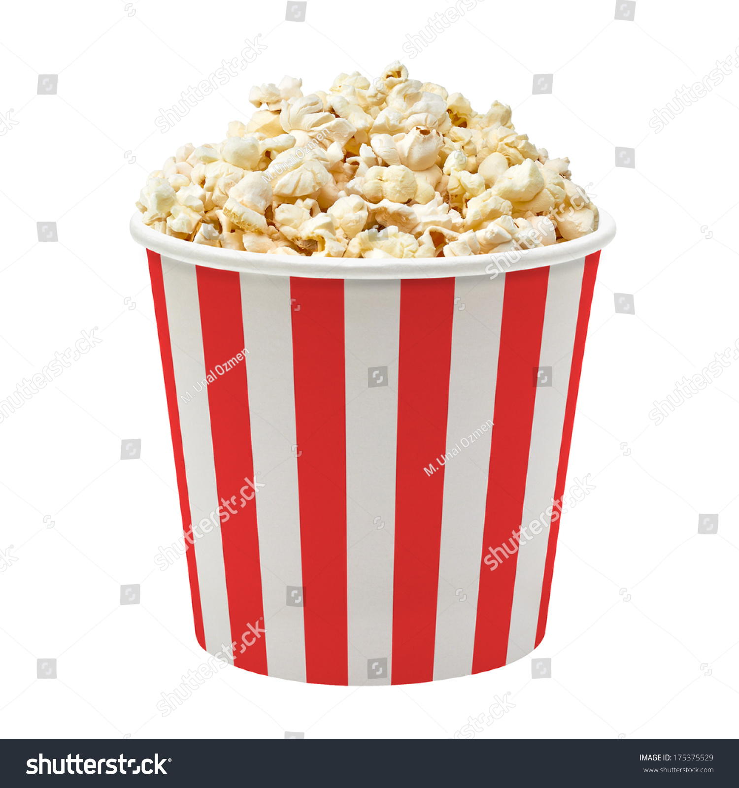 Popcorn in red and white striped cardboard bucket isolated on white background #175375529