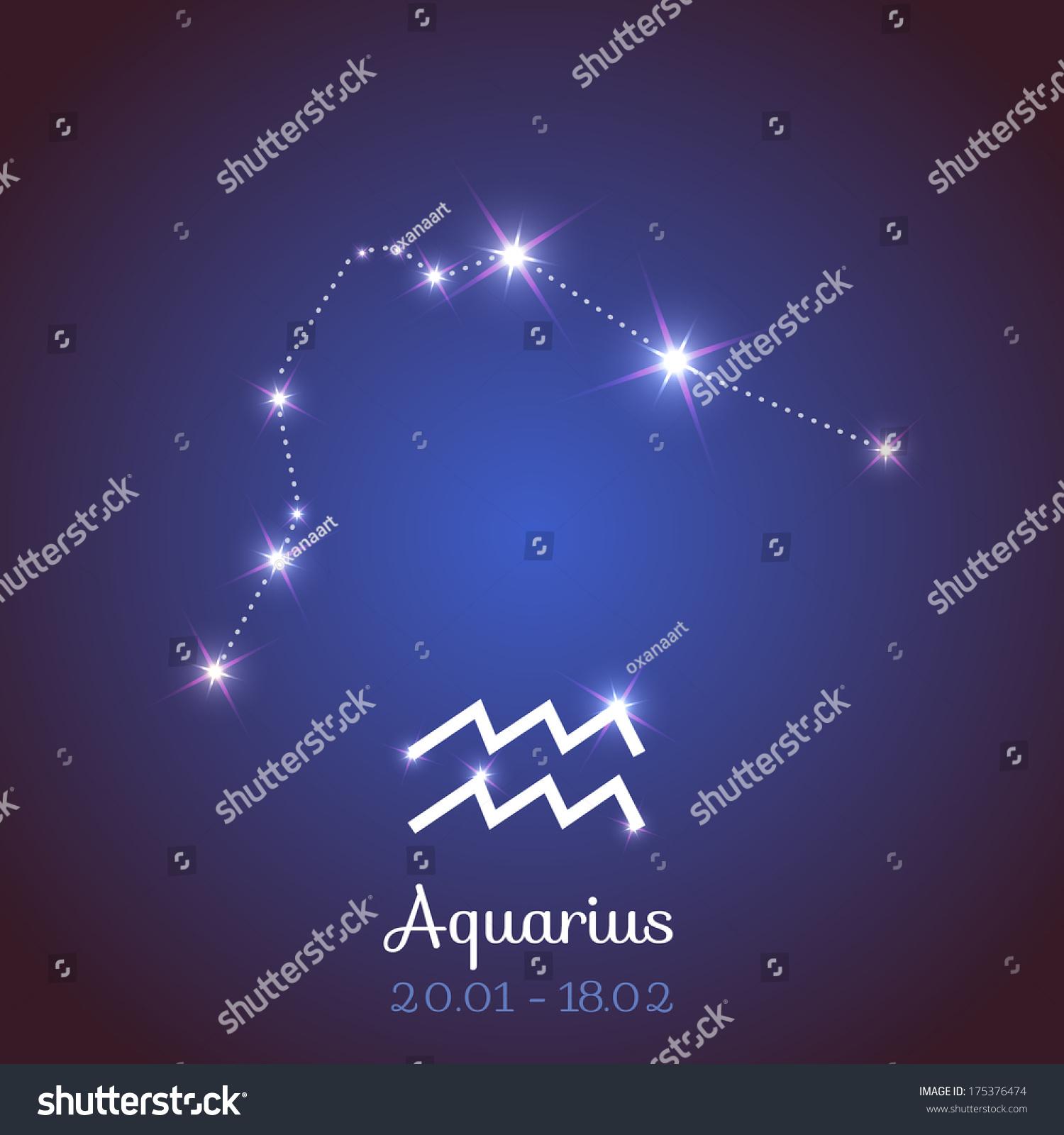 Zodiac Horoscope Symbol Constellation Calendar Aquarius Stock