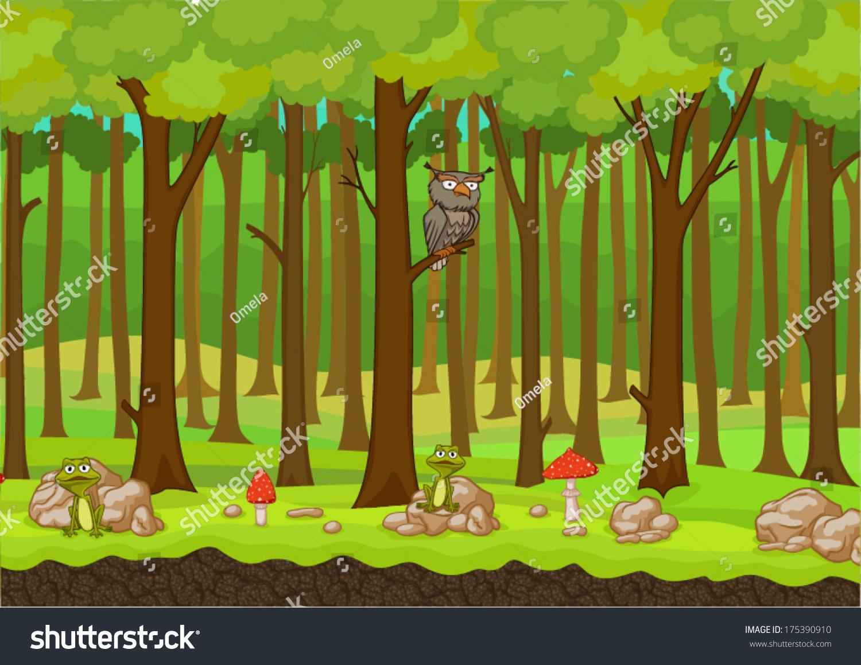 cartoon forest background vector stock vector 175390910