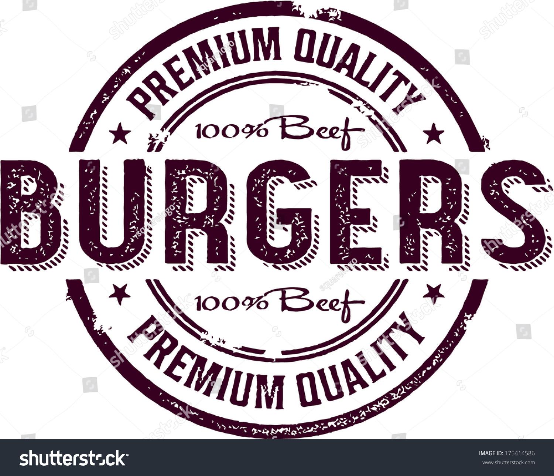 Vintage Burger Restaurant Menu Sign Stock Vector 175414586