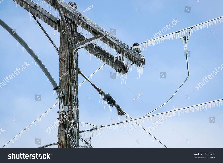 Electric Poles Power Lines : Glazed power line utility pole electric stock photo