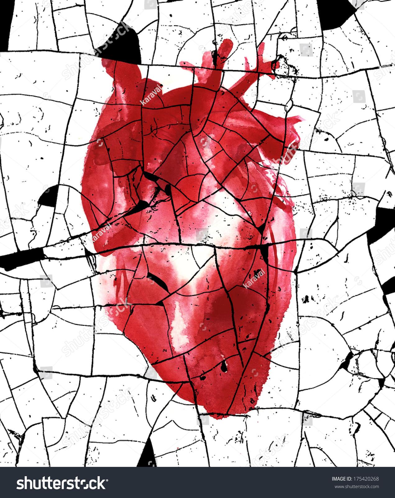 Broken Human Heart Watercolor Illustration Stock Illustration