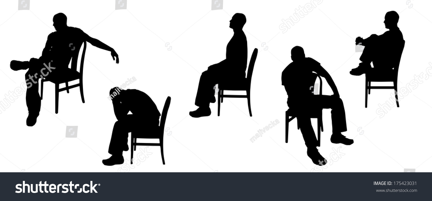 Sitting Silhouette Profile Vector silhouette of man sitting on chairs ...