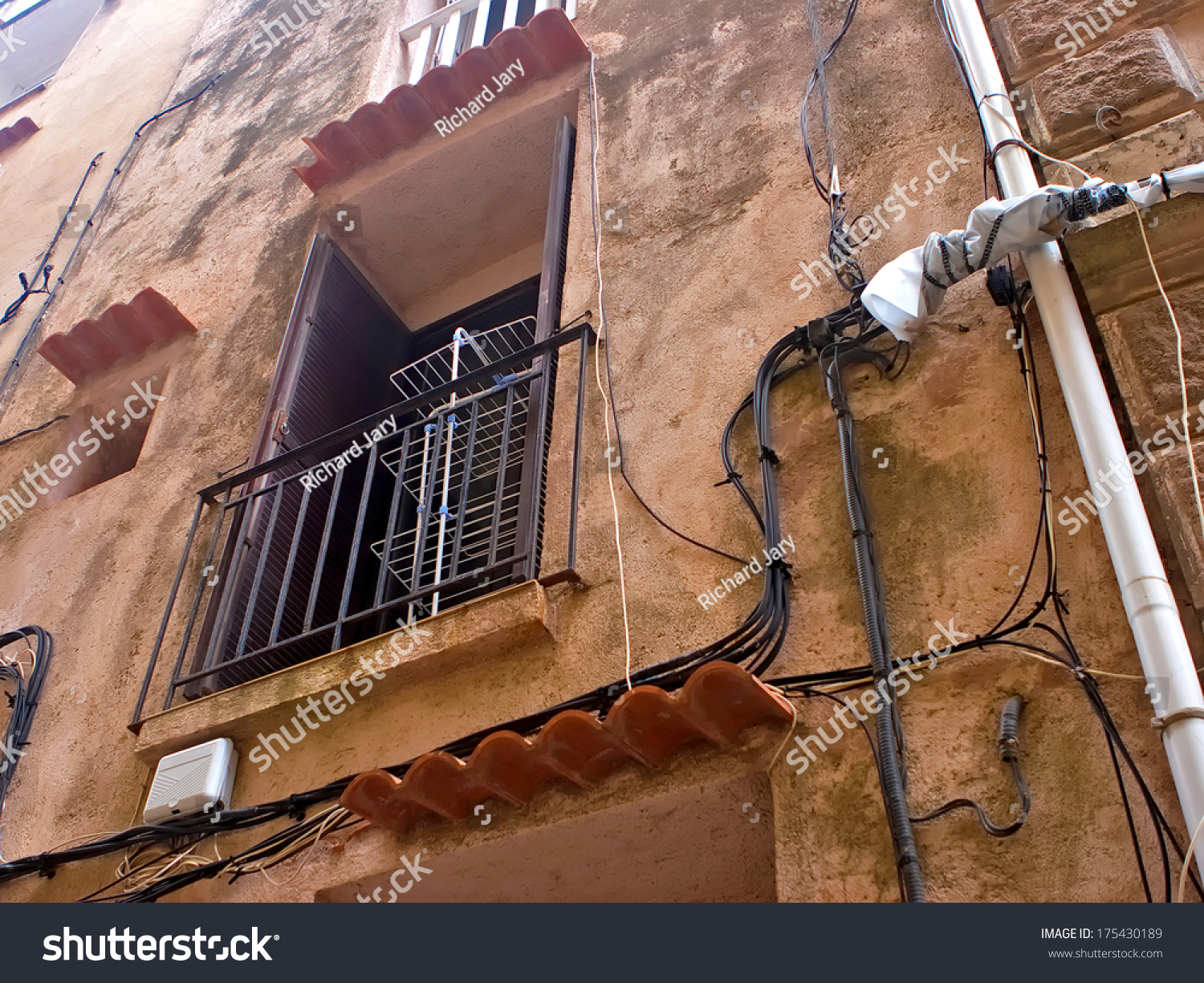 Old Wall Window Clothes Dryer Stock Photo Edit Now 175430189 Wiring With And Cables On It