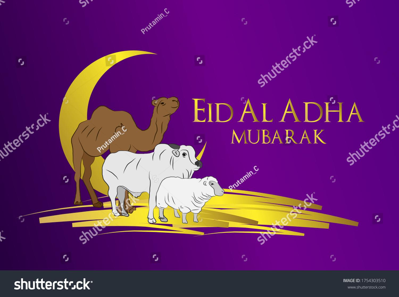 Muslim holiday Eid al-Adha. the sacrifice a ram. graphic design decoration kurban bayrami. month lamb, sheep, and camel. vector illustration.