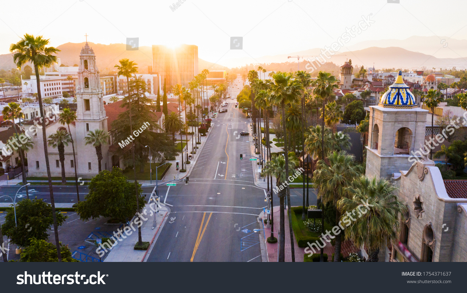 Sunset aerial view of historic downtown Riverside, California. #1754371637