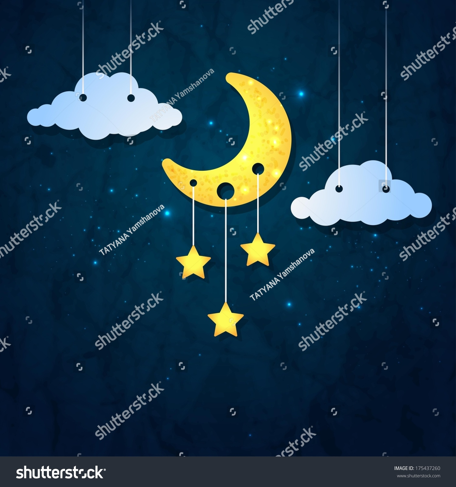 moon clouds stars sweet dreams wallpaper stock vector (royalty free