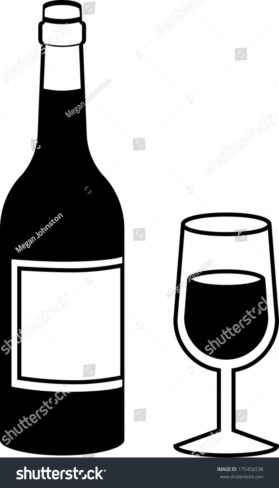 Black And White Wine Bottle With Full Wine Glass Isolated ...