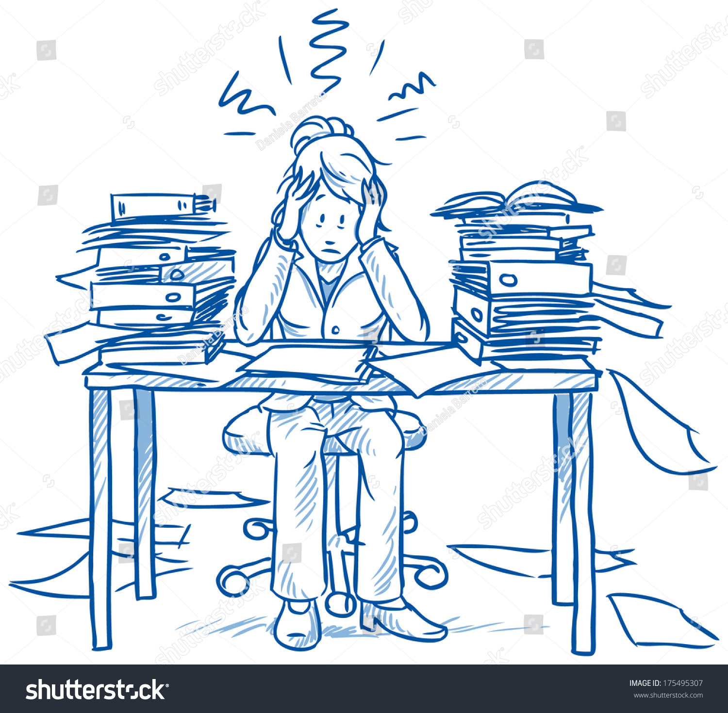 business w employee being desperate much stock vector business w employee being desperate of too much work at her desk full of documents