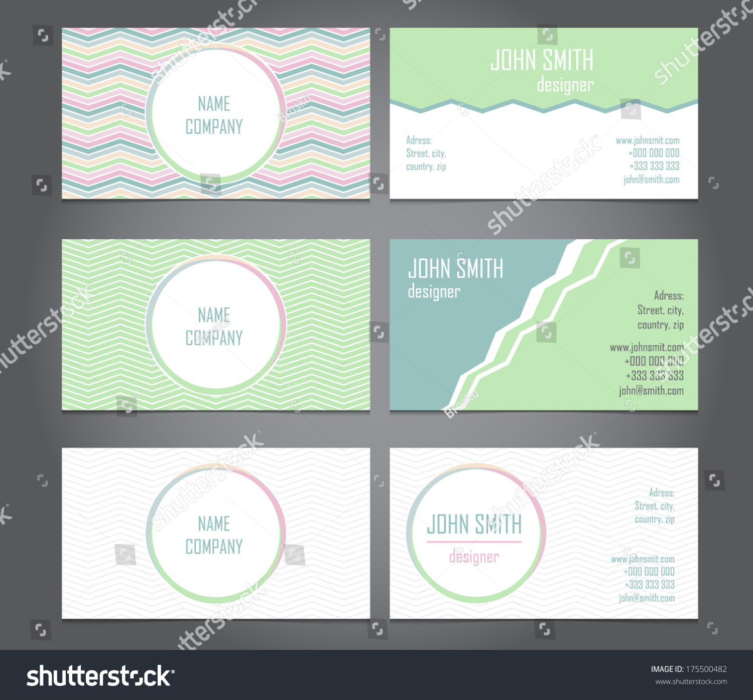 set stylish business cards retro style stock vector