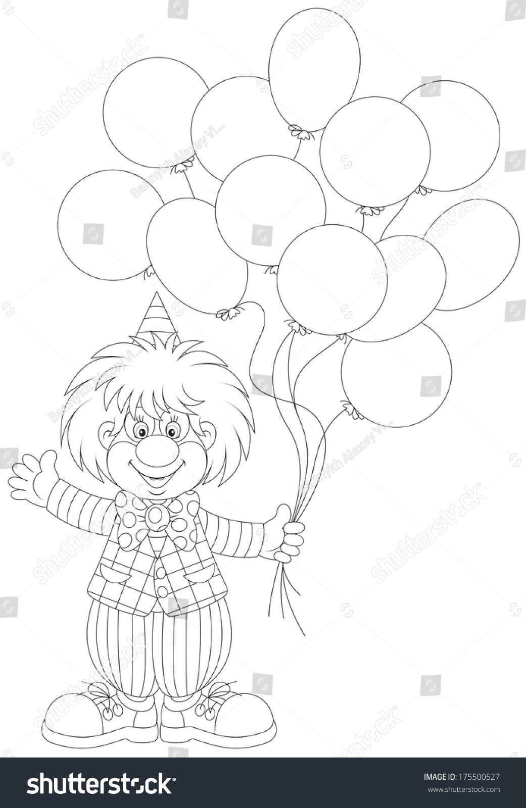 Funny Clown Holding Balloons Waving His Stock Vector 175500527 ...