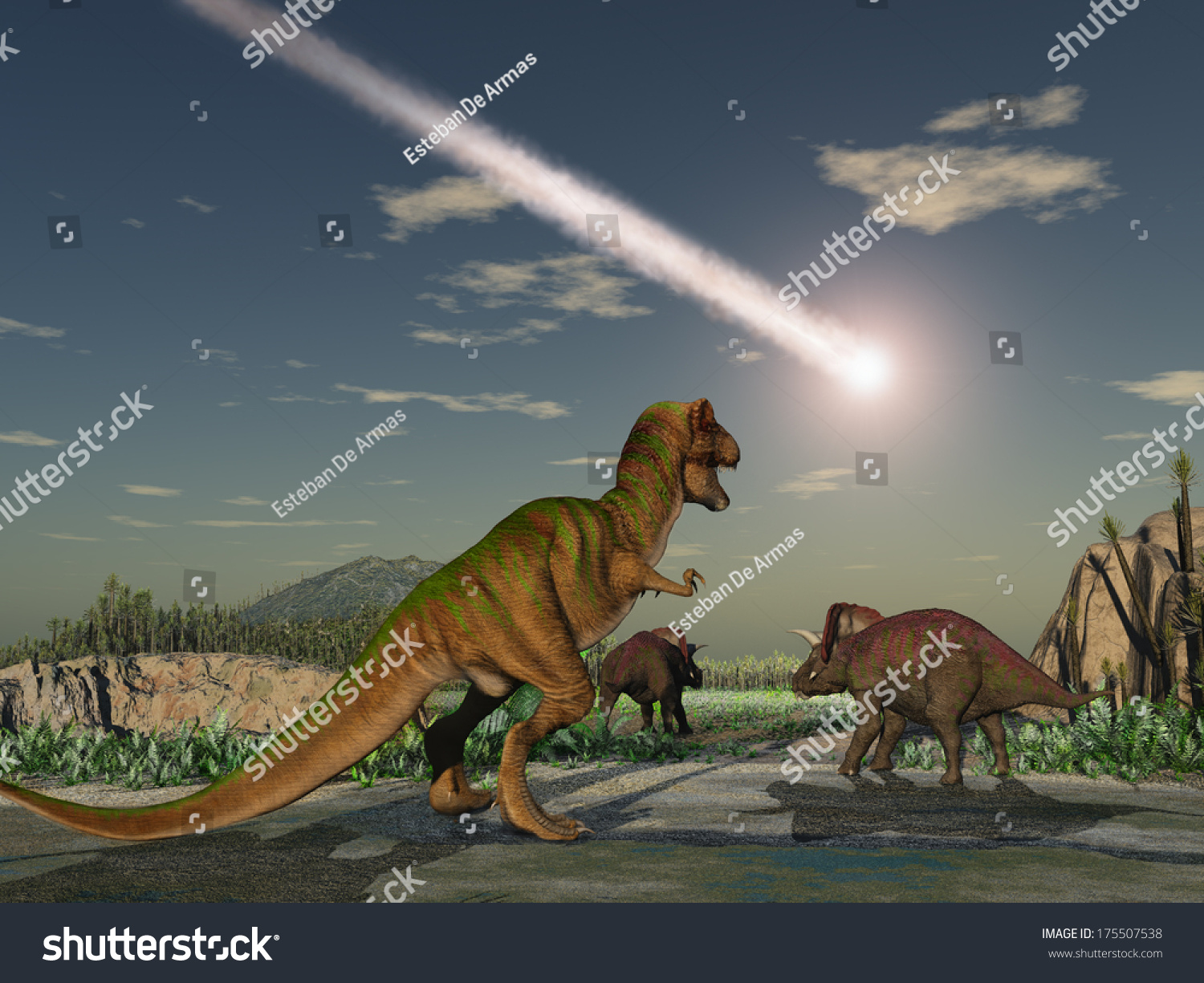 Asteroid That Wiped Out Dinosaurs Stock Illustration ...
