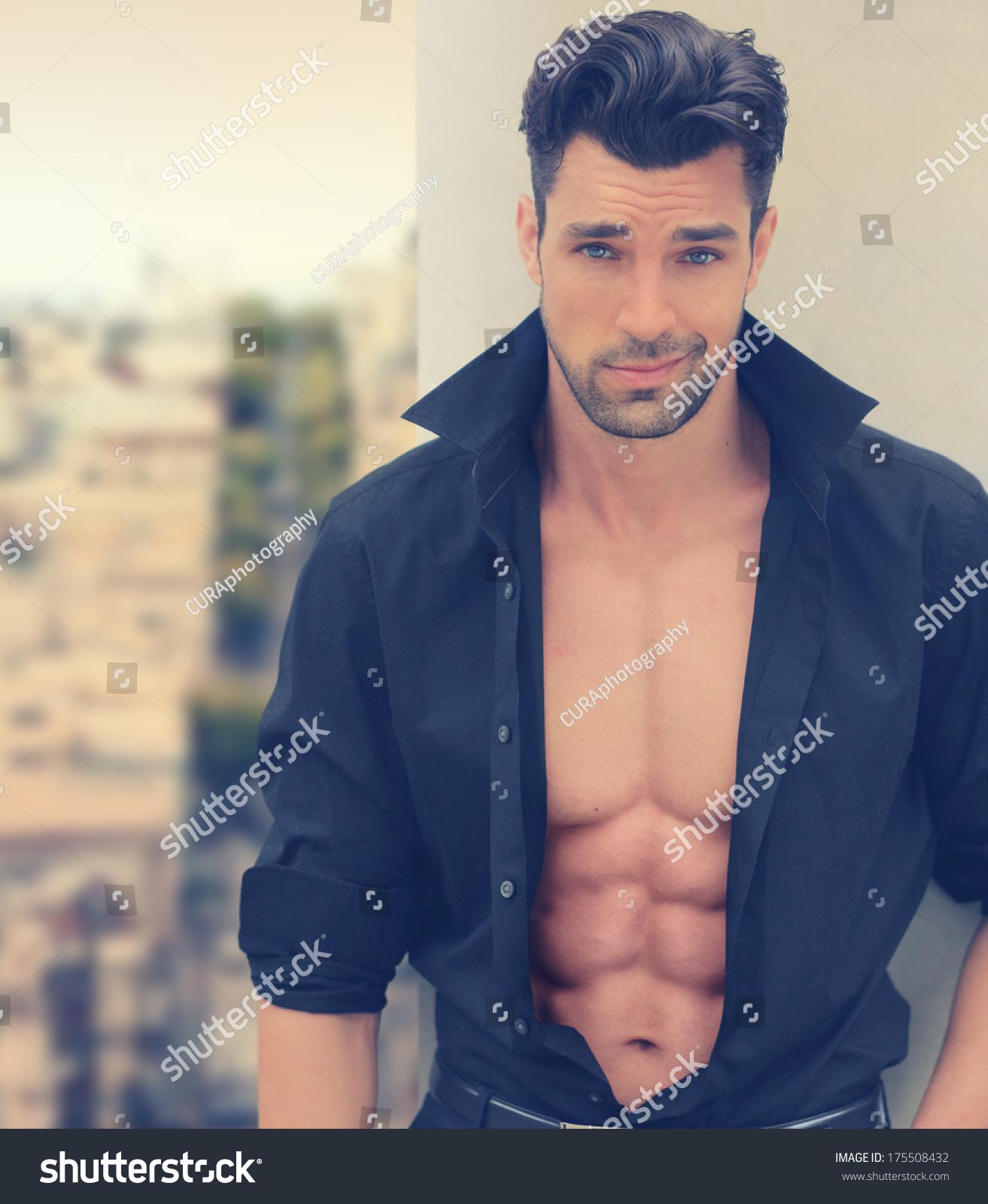 Sexy Male Fashion Model Open Shirt Stock Photo Edit Now 175508432